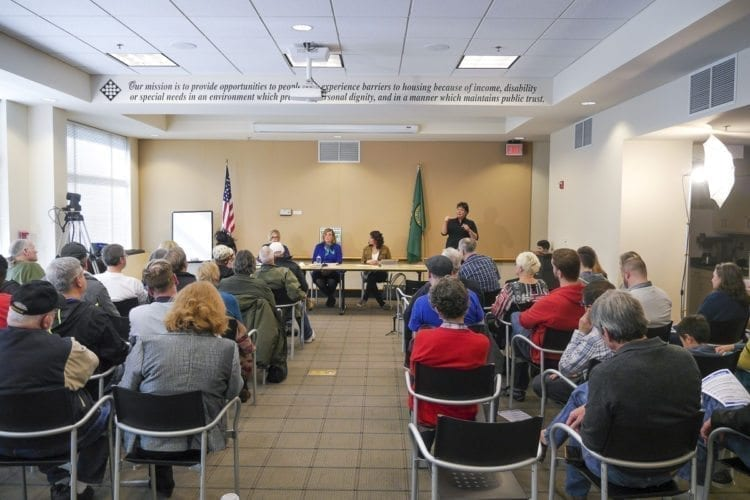 Sen. Annette Cleveland, Rep. Sharon Wylie, and Rep. Monica Stonier (left to right) of the 49th Legislative District are shown here at a Vancouver Town Hall Meeting Saturday. Photo by Chris Brown
