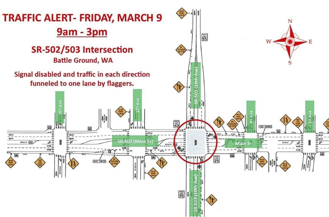 The city of Battle Ground has issued a traffic alert for Fri., March 9. Delays are expected at SR-502/503 Intersection between 9 a.m. and 3 p.m. Map courtesy of city of Battle Ground