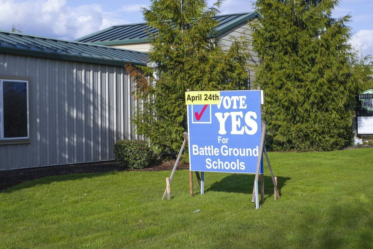 A sign urges drivers along SR-502 in Battle Ground to support the $224.9 million school building bond. Photo by Chris Brown