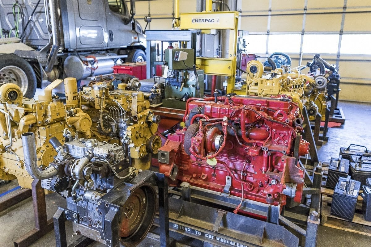Diesel engines, most donated by local businesses, are shown here at the Diesel Technician program for Clark College. Photo by Mike Schultz