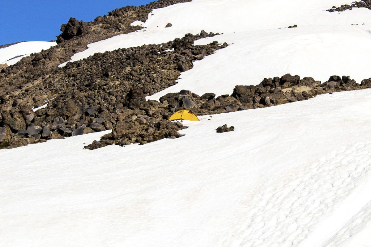A tent is seen along the route to Mount St. Helens. Photo by Eric Schwartz