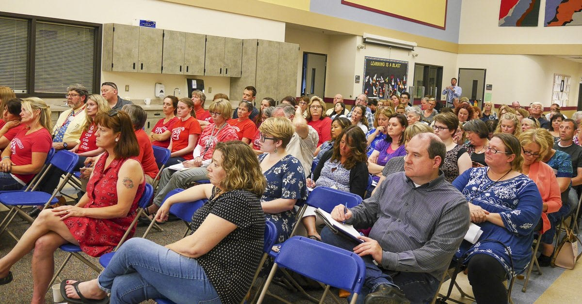 There was a packed house for the Battle Ground School Board meeting at Chief Umtuch Middle School Monday. Photo by Chris Brown