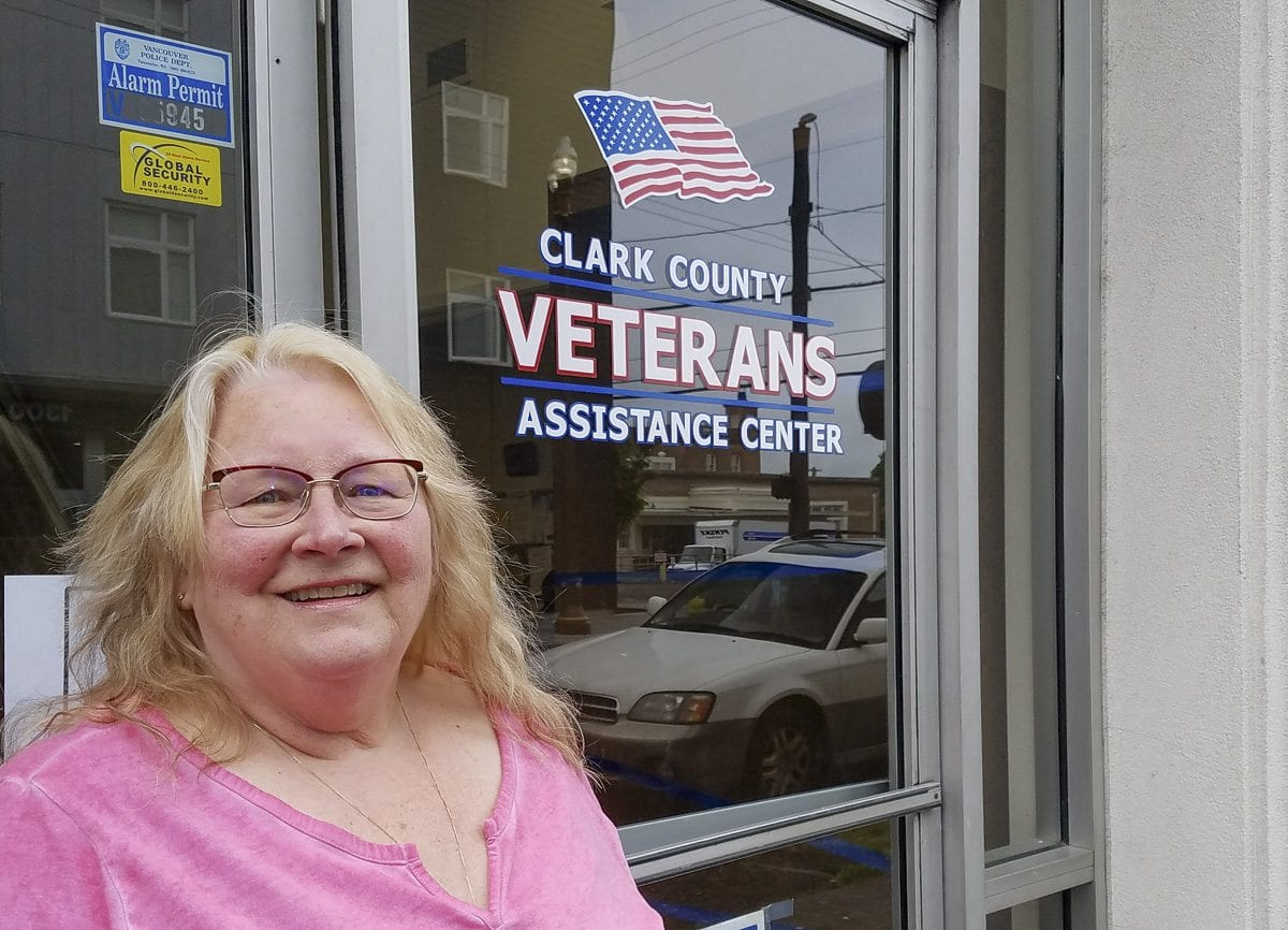 Judy Russel, the president of the Clark County Veterans Assistance Center, is married to a Vietnam veteran. The center, at 1305 Columbia Street in Vancouver, is open Monday through Friday. Photo by Paul Valencia