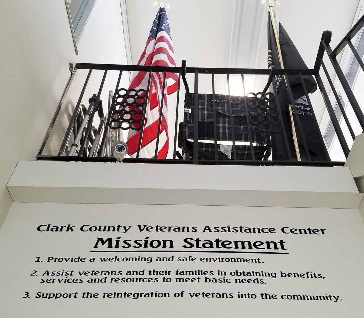 Veterans arriving at the Clark County Veterans Assistance Center see this sign posted inside the facility. This is a place for them. Photo by Paul Valencia