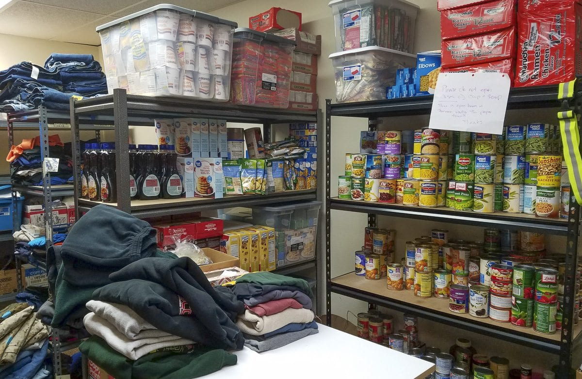 The Clark County Veterans Assistance Center has a shop of sorts in the back, helping veterans with food, clothing, shoes and other supplies. Photo by Paul Valencia