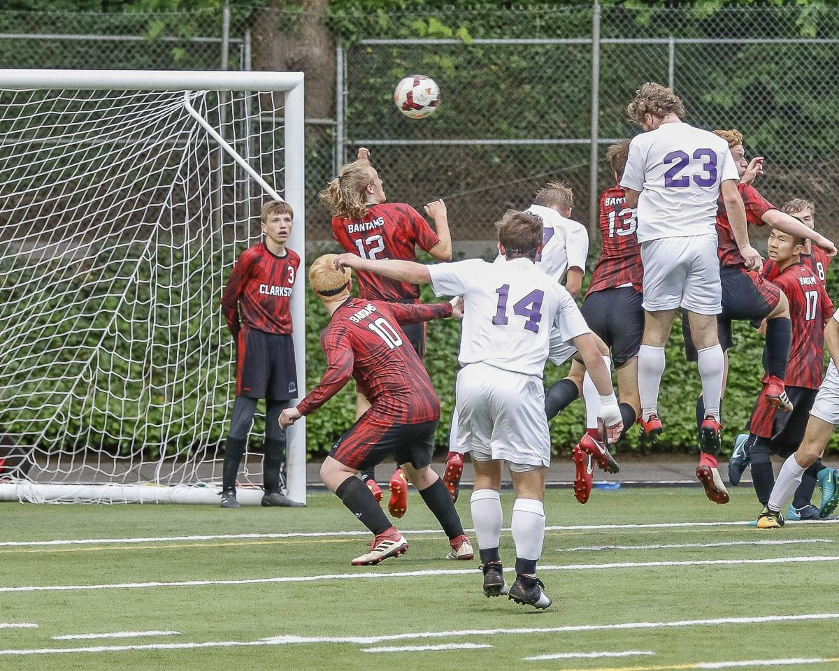 Ryan Connop of Columbia River scored the game-winner with this header off a corner kick from Maksim Yurichko. The Chieftains will take on Archbishop Murphy in the 2A quarterfinals at 5 p.m. Saturday at Kiggins Bowl. Photo by Mike Schultz
