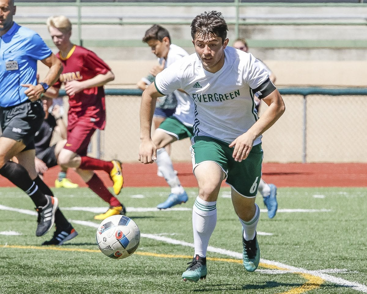 Levan Zhividze of Evergreen, shown here last week, scored two goals Wednesday in Evergreen's 3-0 win over Shorecrest. Photo by Mike Schultz