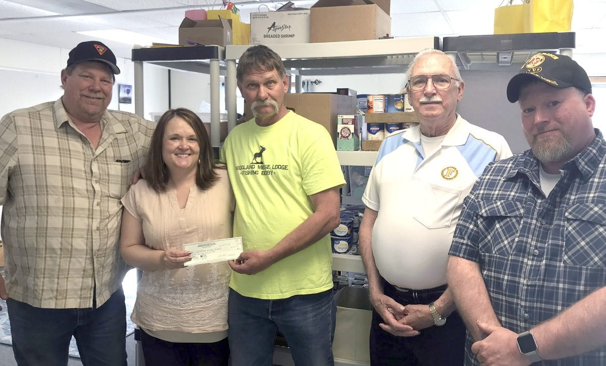 The Moose Lodge, a Woodland business, recently donated $500 to Woodland Public Schools' Food Pantry Program which will help feed families-in-need through the end of the school year. Photo courtesy of Woodland Public Schools