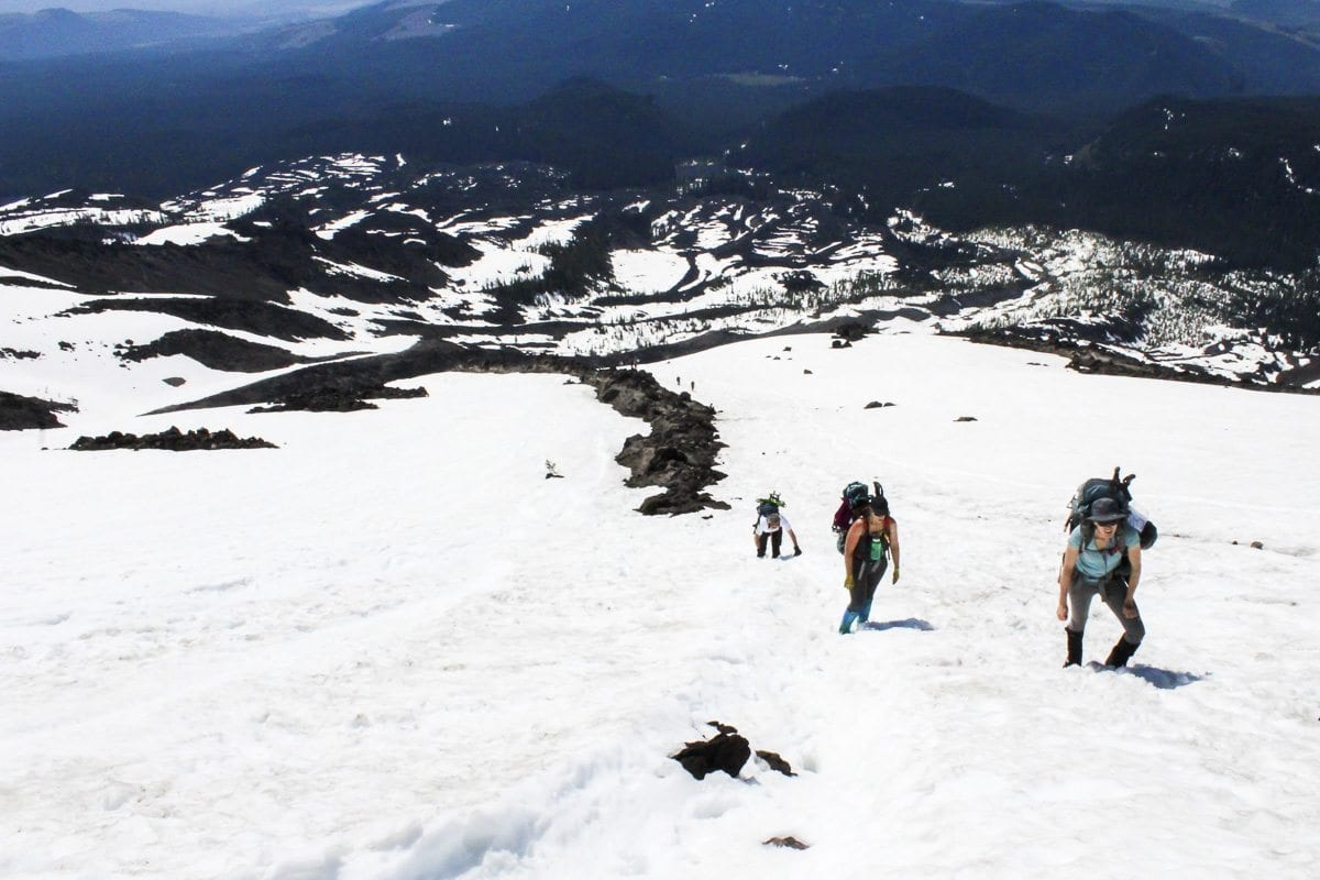 Climbers battle steep terrain en route to the summit of Mount St. Helens. Photo by Eric Schwartz