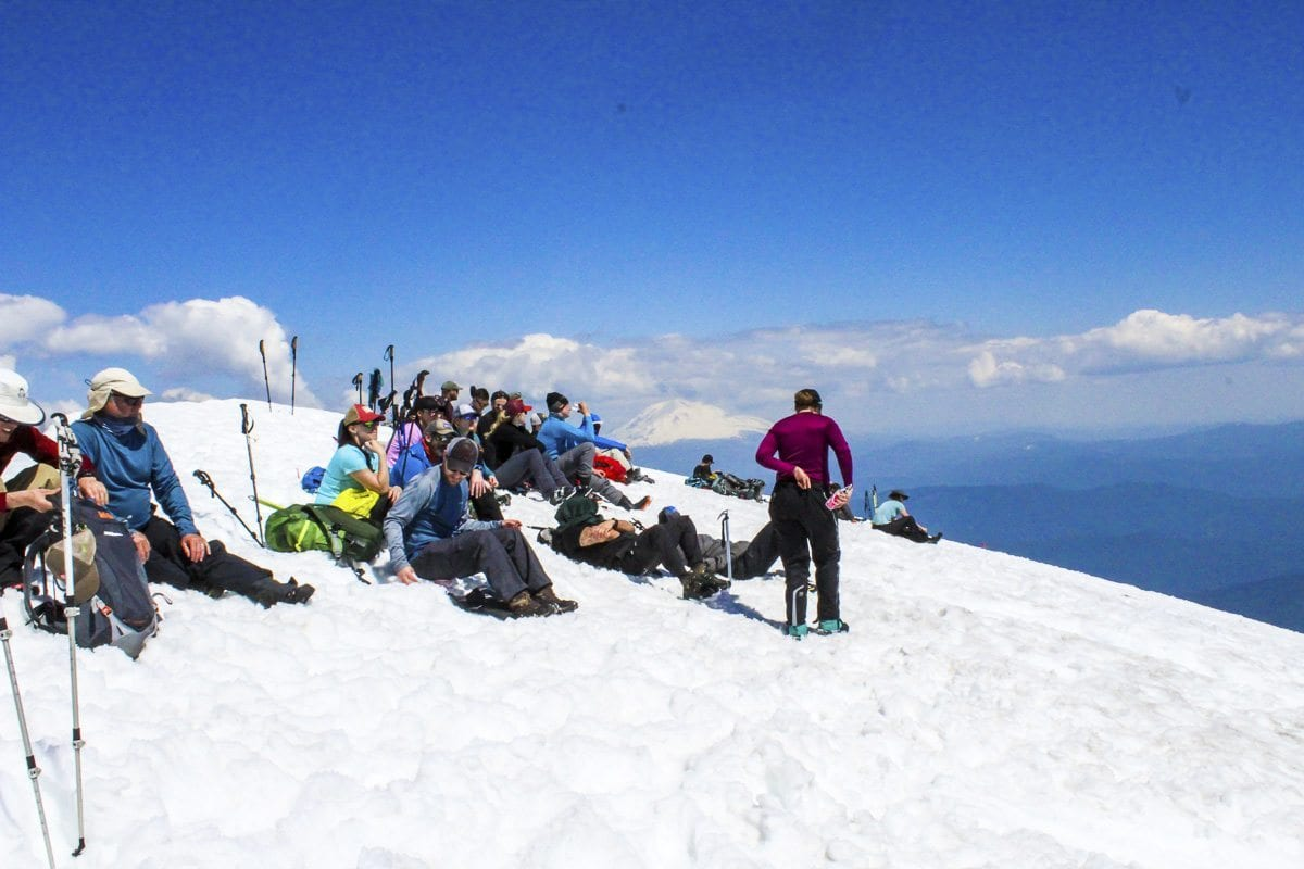 Climbers rest at the summit of Mount St. Helens Tuesday. Photo by Eric Schwartz