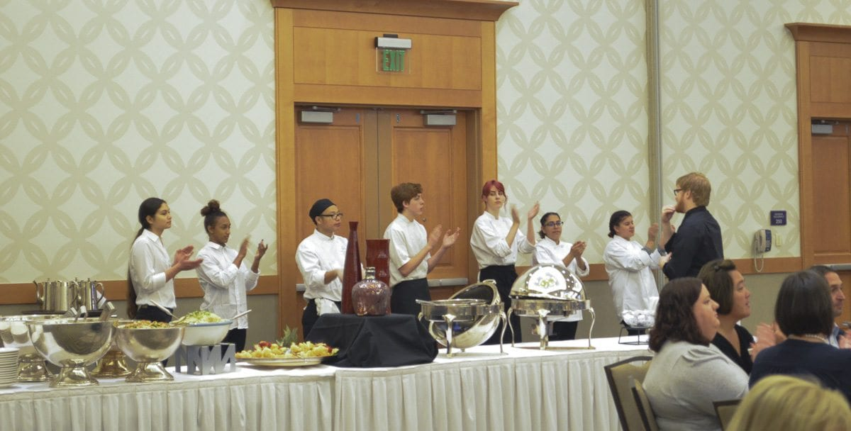 Culinary Arts students from Fort Vancouver High School prepared and catered the meal at the Foundation for Vancouver Public Schools annual luncheon. Photo courtesy of Foundation for Vancouver Public Schools