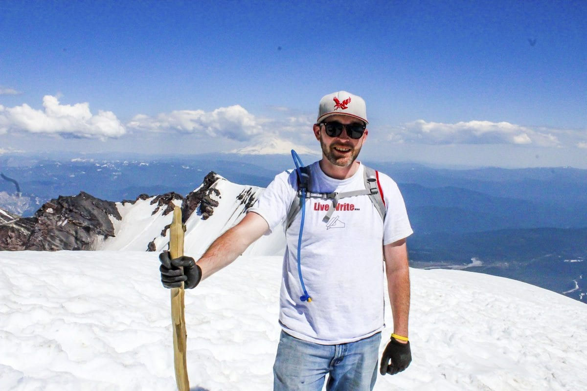 Reporter Eric Schwartz stands at the summit of Mount St. Helens Tuesday. Photo by Eric Schwartz