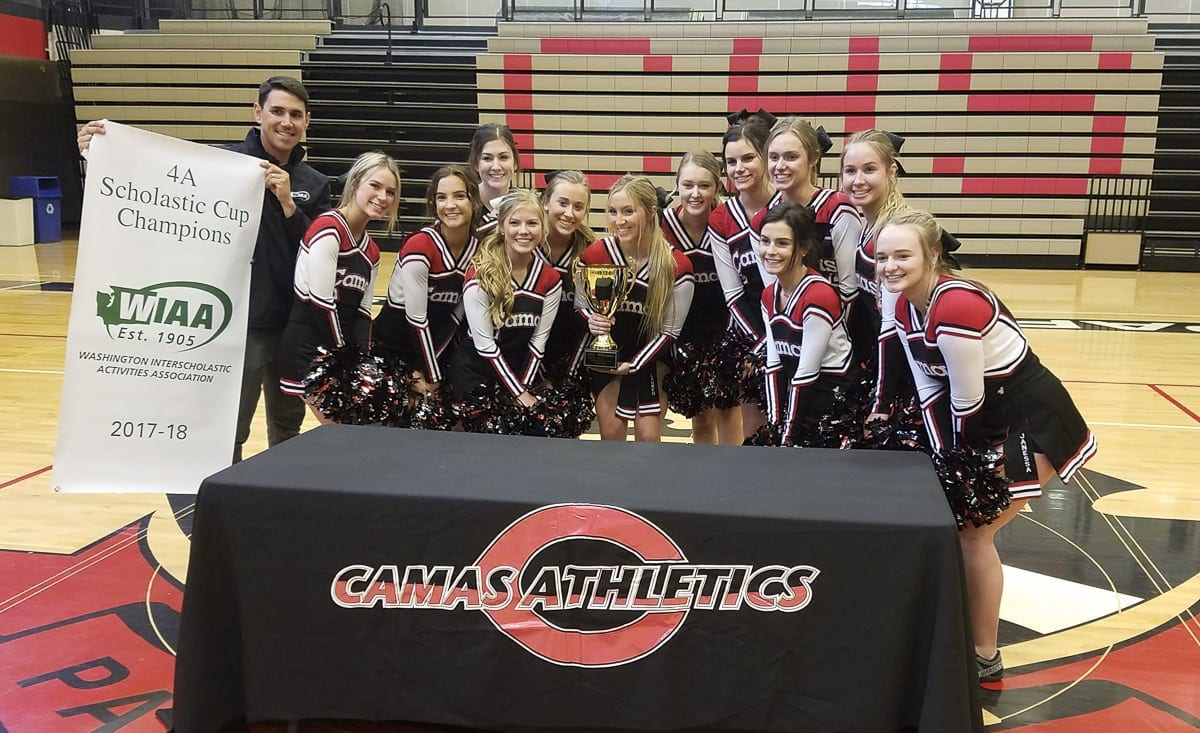 Andy Knapp of the WIAA and Camas cheerleaders are all smiles after the WIAA presented Camas with the 2017-18 Scholastic Cup for excellence in athletics, academics, and sportsmanship. Photo by Paul Valencia
