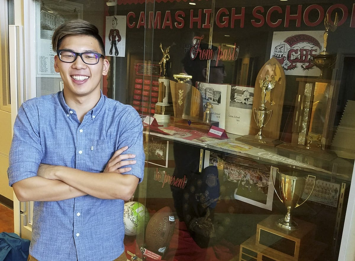 Mark Kim will graduate from Camas High School on Friday and 12 days later will be off to West Point. The state champion will swim for the Black Knights as he prepares to serve his country. Photo by Paul Valencia