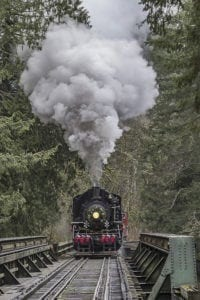 The Chelatchie Prairie Railroad will host Independence Day Steam Train Robbery runs on Sat., June 30 and Sun., July 1. Photo by Mike Schultz