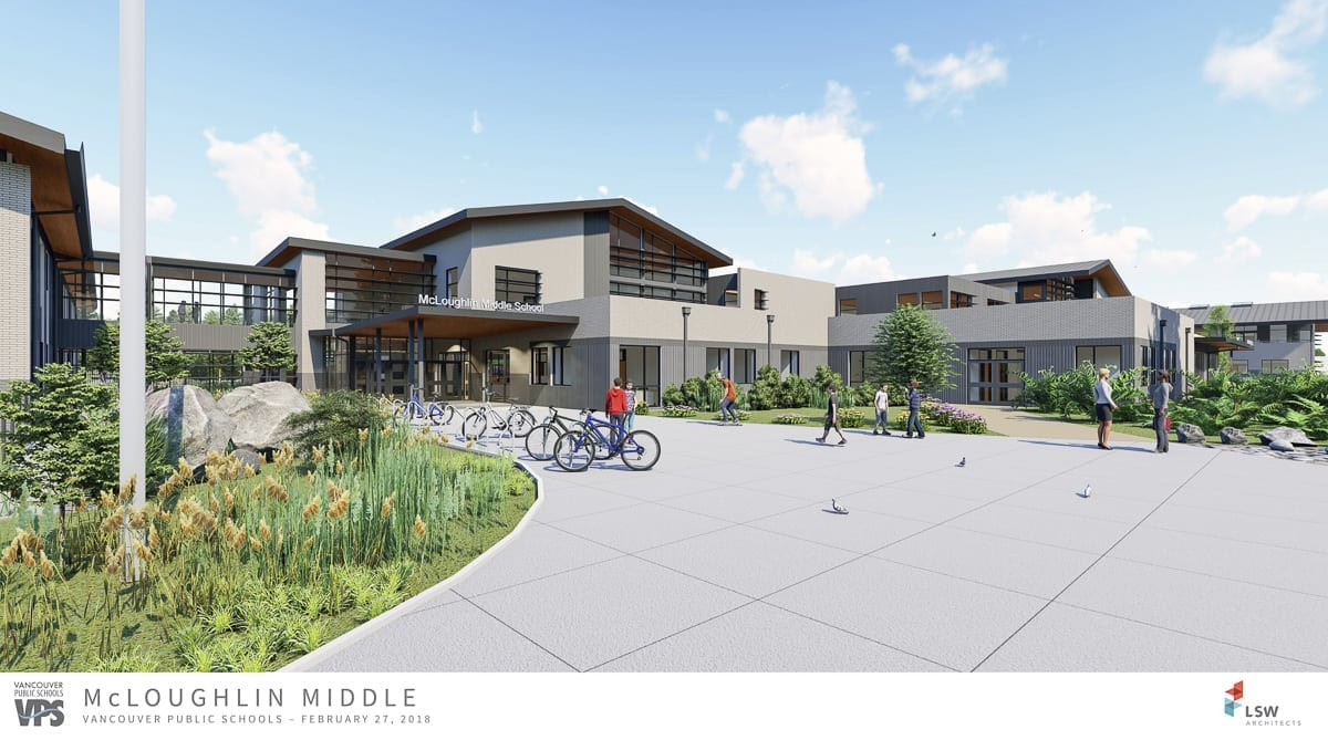 This artist's rendering shows the new Marshall Elementary and McLoughlin Middle school buildings. Photo courtesy of Vancouver School District