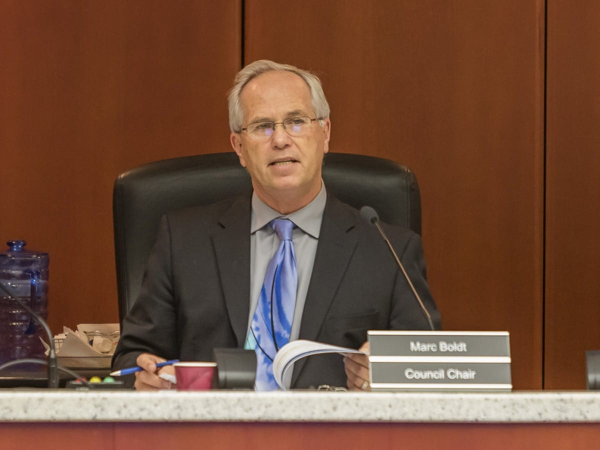 County Chair Marc Boldt is shown at a council meeting earlier this year. Photo by Eric Schwartz