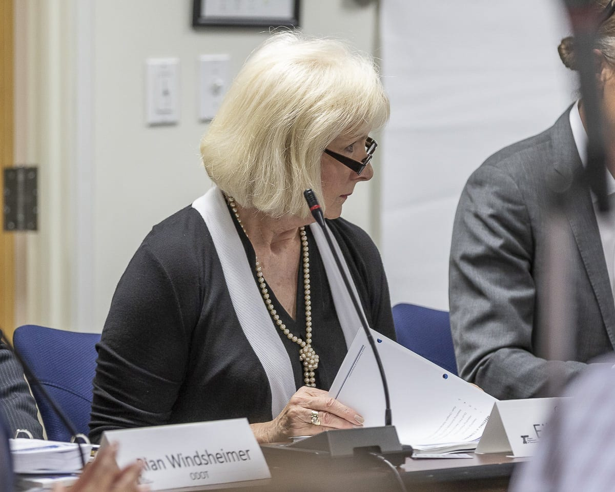 Clark County Councilor Eileen Quiring looks on during the final meeting of the Value Pricing Public Advisory Committee on Monday. Photo by Mike Schultz