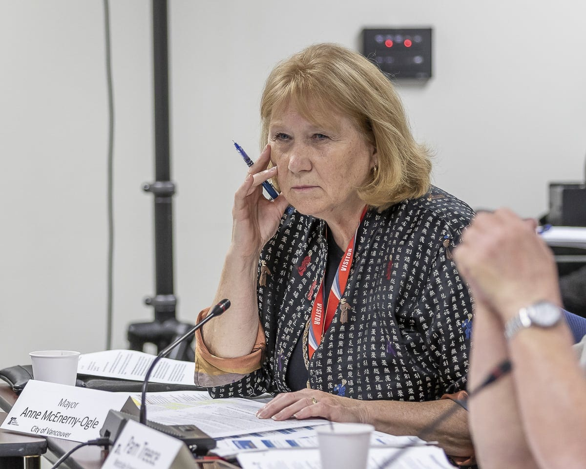 Vancouver Mayor Anne McEnerny-Ogle is shown at Monday's final meeting of the Public Advisory Committee on Value Pricing at ODOT Headquarters in Portland. Photo by Mike Schultz