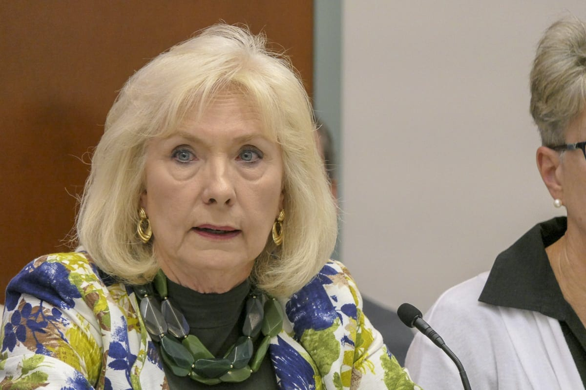 Clark County Councilor Eileen Quiring speaks during a meeting of the Regional Transportation Council. Photo by Chris Brown
