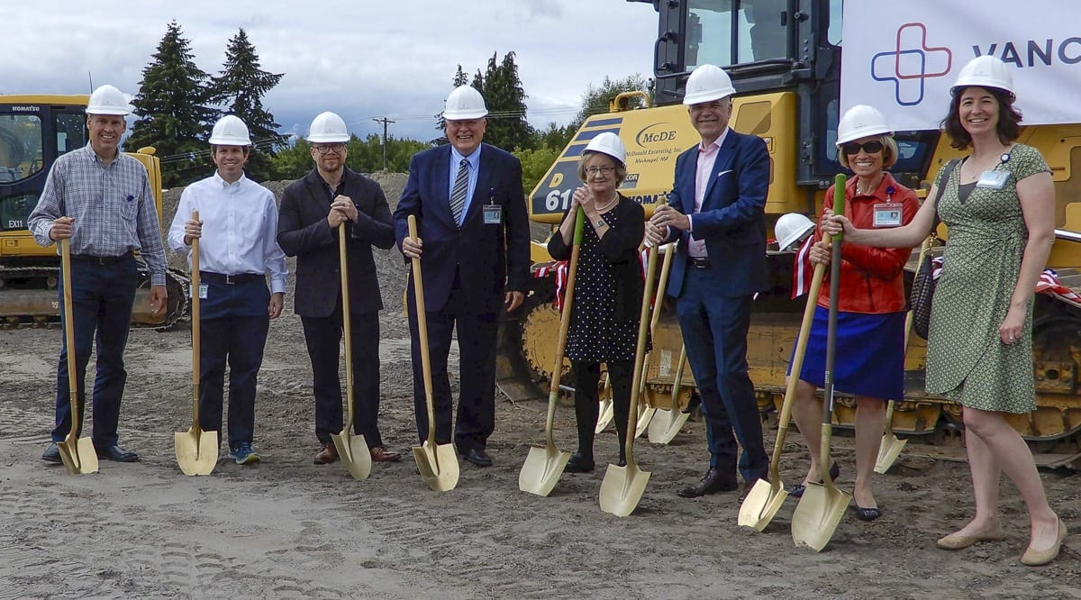 Vancouver Clinic executives and physician leaders break ground on new clinic in Ridgefield, opening Summer 2019. Photo courtesy of Vancouver Clinic
