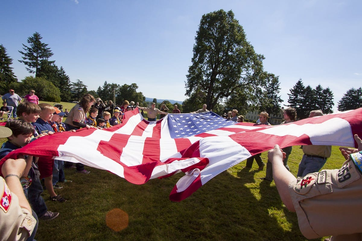 The annual Flag Day celebration begins at 5 p.m. on Thu., June 14 at The Bandstand at Fort Vancouver National Site, across from the Grant House, 1101 Officers Row. Photo courtesy of The Historic Trust