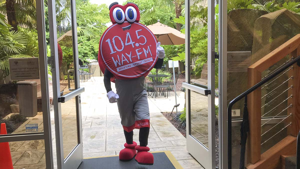 Gotta make way for Dot the Mascot, who represents 104.5 WAY-FM. She is set to make her public debut next week. Photo courtesy of 104.5 WAY-FM