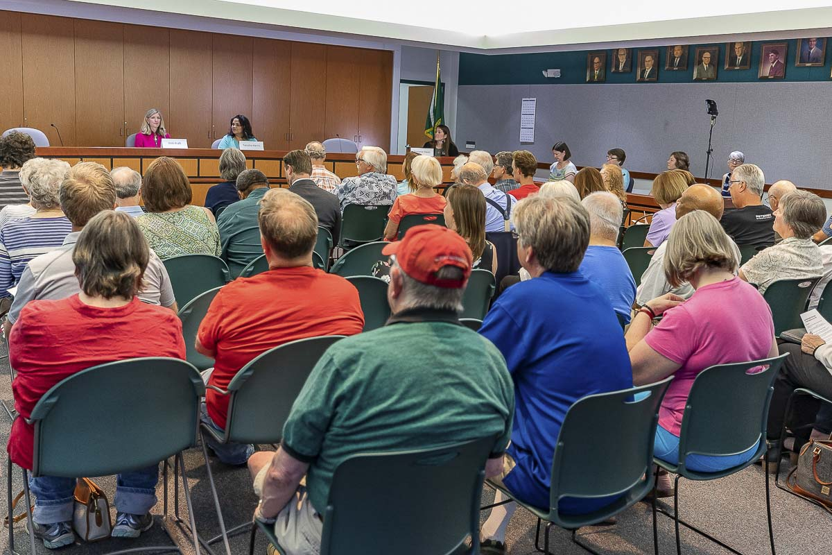 An overflow crowd showed up Saturday at the Clark Regional Wastewater District office for the second of a series of three candidate forums sponsored by the League of Women Voters of Clark County. Photo by Mike Schultz