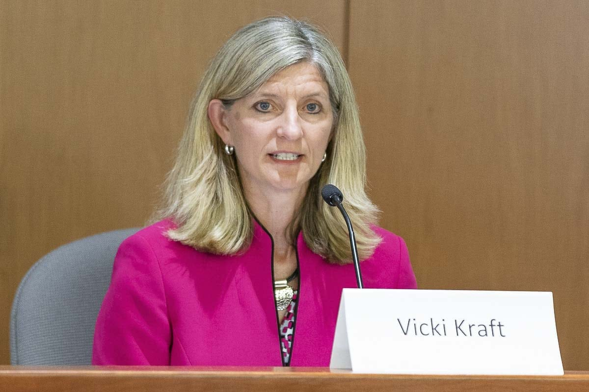 Current state representative Vicki Kraft (Position 1, 17th District) answers a question Saturday at the League of Women Voters of Clark County candidate forum. Photo by Mike Schultz