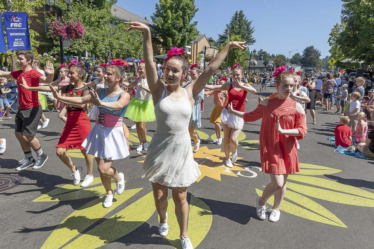 Members of the Dayley Dance Academy participated in the Camas Days parade Saturday. Photo by Mike Schultz