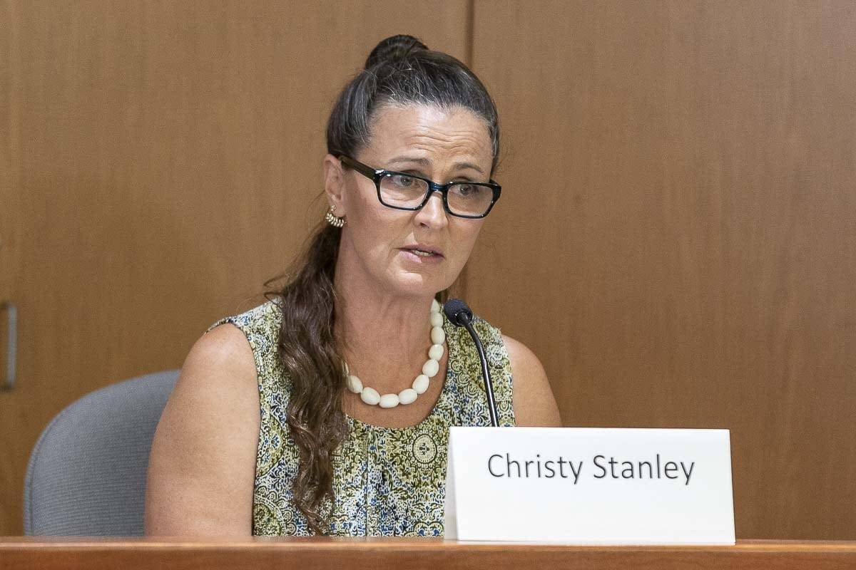 Christy Stanley (shown here) was one of three candidates for the county chair position to participate in a recent candidate forum sponsored by the League of Women Voters of Clark County. Photo by Mike Schultz
