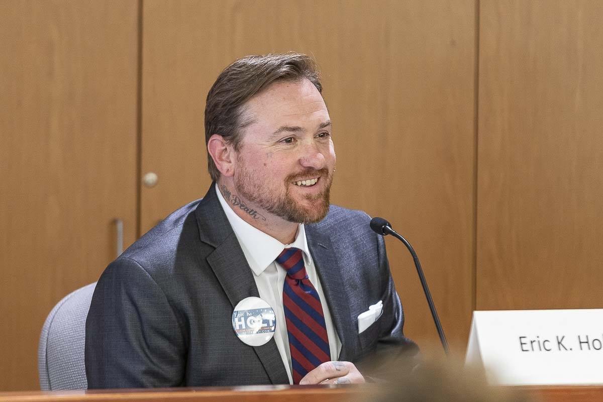 Erik Holt (shown here) was one of three candidates for the county chair position to participate in a recent candidate forum sponsored by the League of Women Voters of Clark County. Photo by Mike Schultz