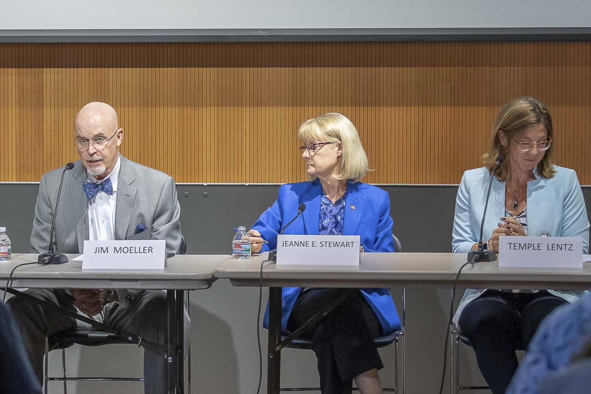 Candidates for Clark County Council District 1 answer questions at a League of Women Voters candidate forum. Photo by Mike Schultz