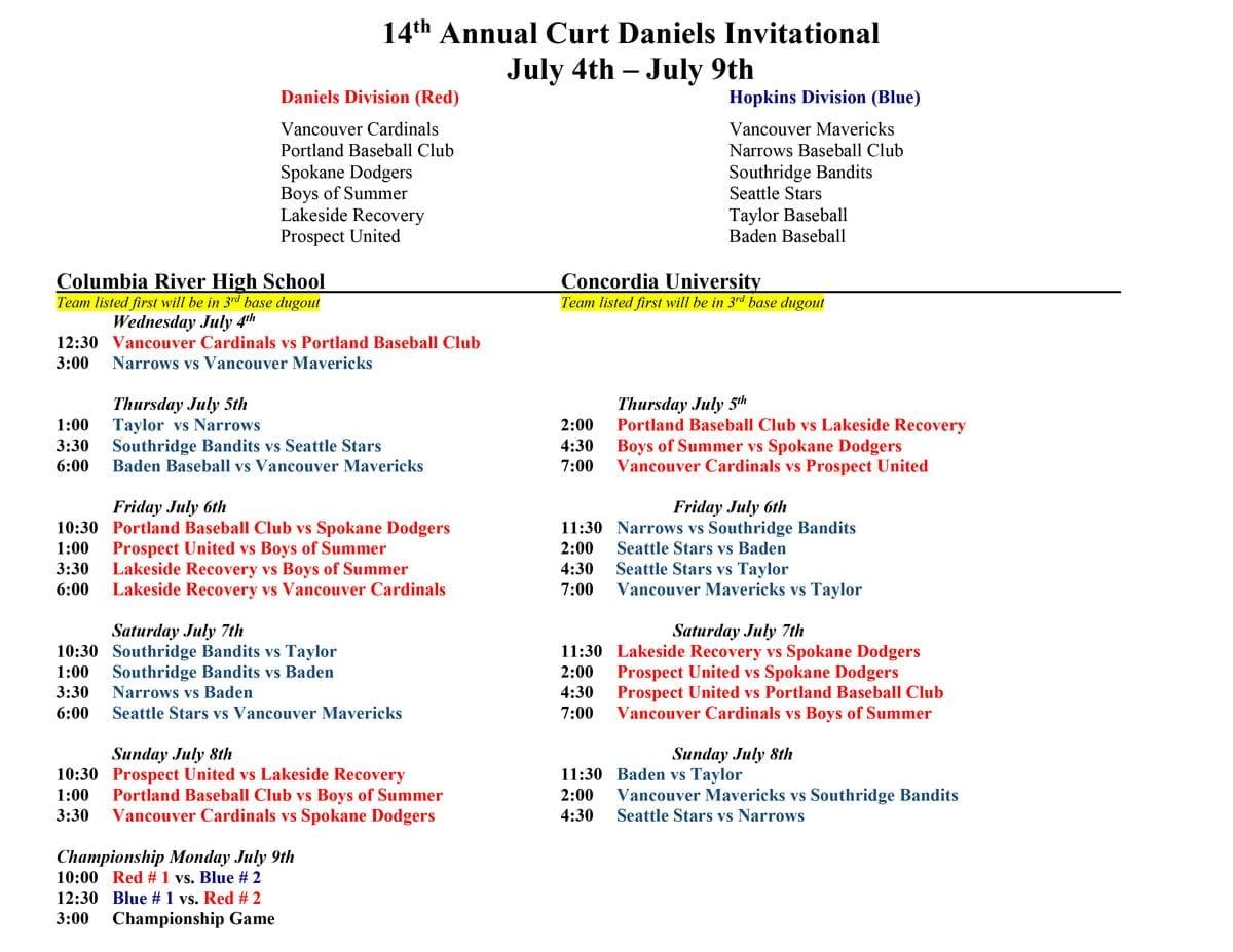 Curt Daniels Tournament schedule. Click for PDF.