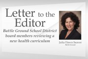 Battle Ground School District board members reviewing a new health curriculum