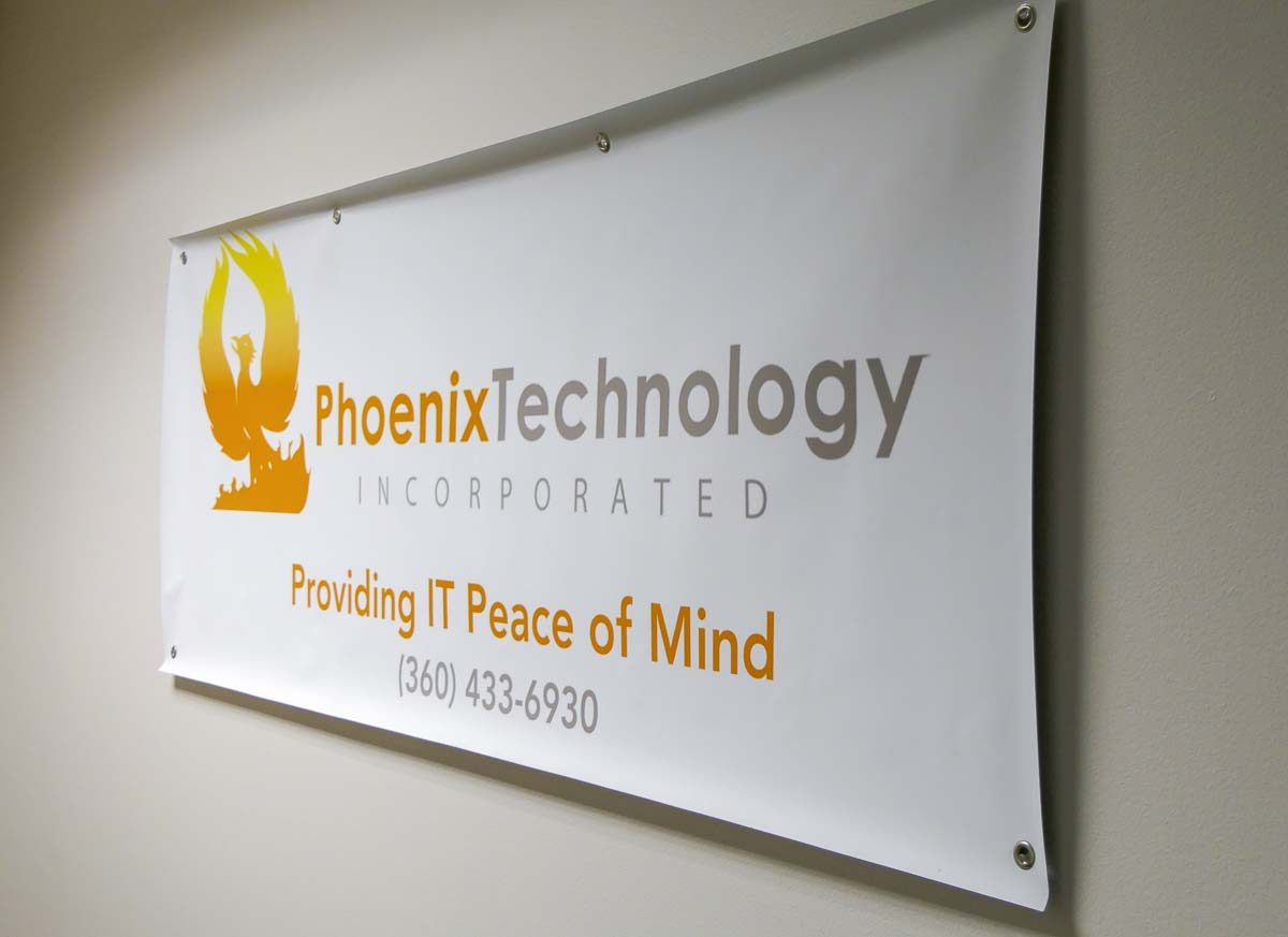 This sign greets clients at Phoenix Technology's offices on Mill Plain west of I-205. Photo by Chris Brown