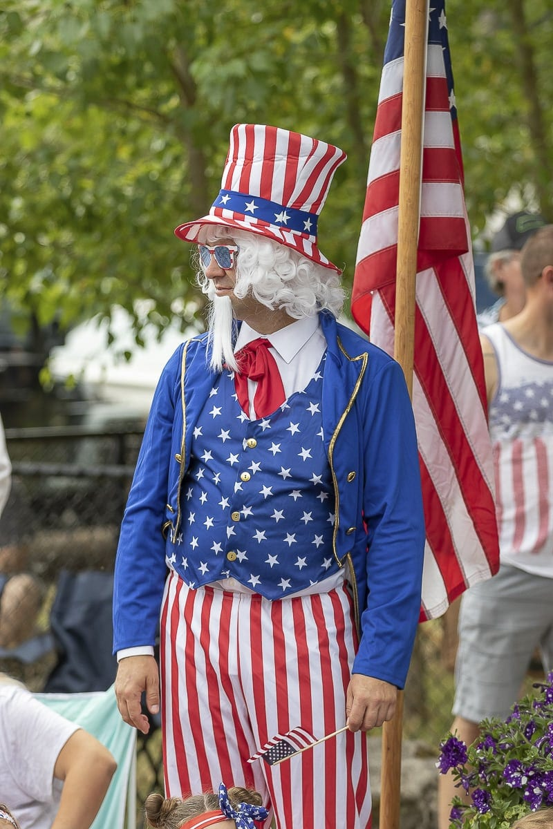 Ed Martin, resident of Ridgefield, dressed as Uncle Sam to show his patriotic spirit at the Ridgefield Fourth of July celebration. Photo by Mike Schultz