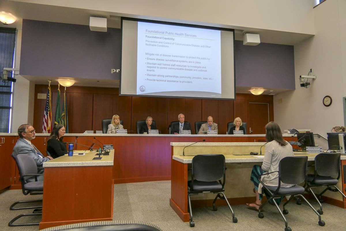 The Clark County Board of Public Health hears an update on local TB and Measles cases. Photo by Chris Brown