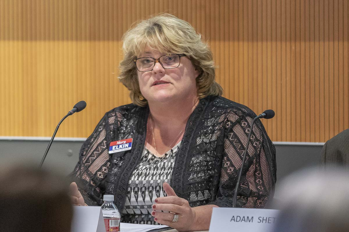 Mary Elkin, a candidate for Vancouver City Council Position 1, speaks at a League of Women Voters candidate forum. Photo by Mike Schultz