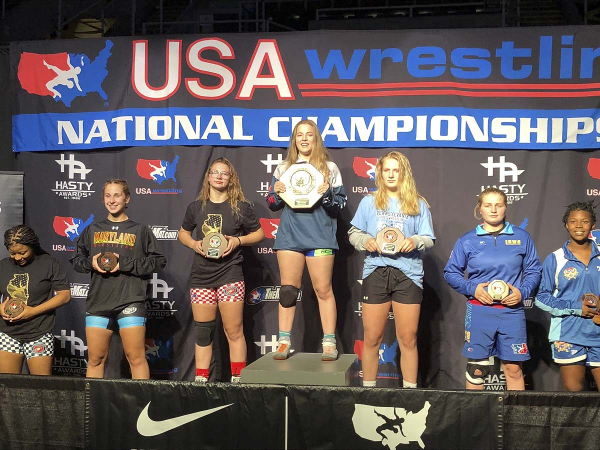 Nevaeh Cassidy, who will be a junior at Union High School, stands atop the podium after claiming the USA Wrestling cadet freestyle national championship at the 144-pound division. Photo courtesy of Nevaeh Cassidy