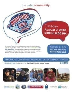 Battle Ground celebrates National Night Out on Tue., Aug. 7 from 6–8 pm at Kiwanis Park located at 422 SW 2nd Ave.