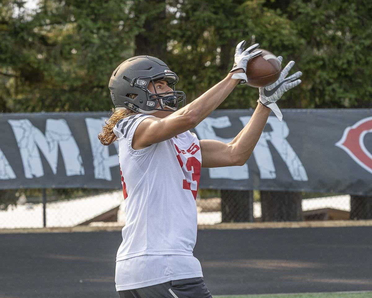 Senior Luc Sturbelle catches a pass during a recent Camas practice. Sturbelle is one of the key returning players for the Papermakers in 2018. Photo by Mike Schultz