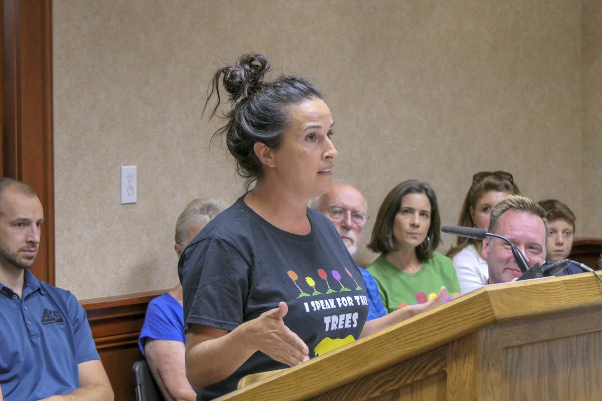 Camas resident Heather Kesmodel speaks in support of better protections for trees during Monday's city council meeting. Photo by Chris Brown