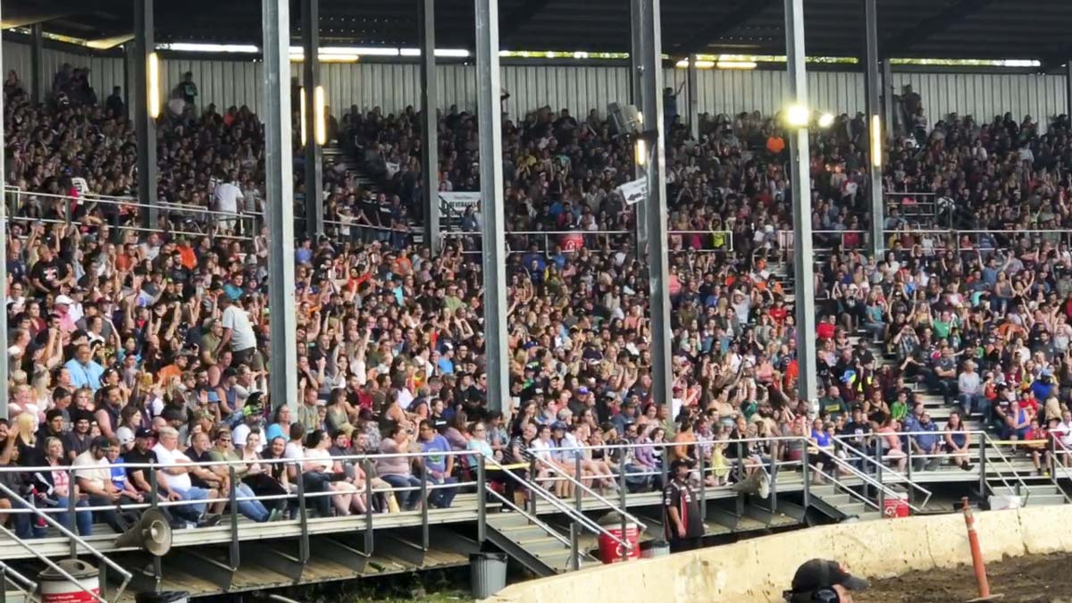 The grandstands were full this weekend for the popular Tuff Trucks competition at the 2018 Clark County Fair. Photo by Andi Schwartz
