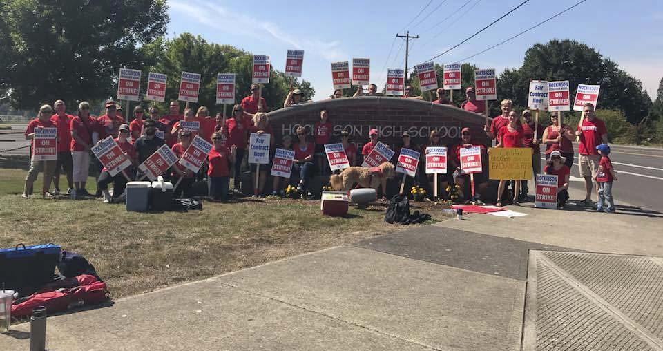 Hockinson teachers picket outside Hockinson High School on Wednesday, the first day of their strike. Photo courtesy Hockinson Education Association