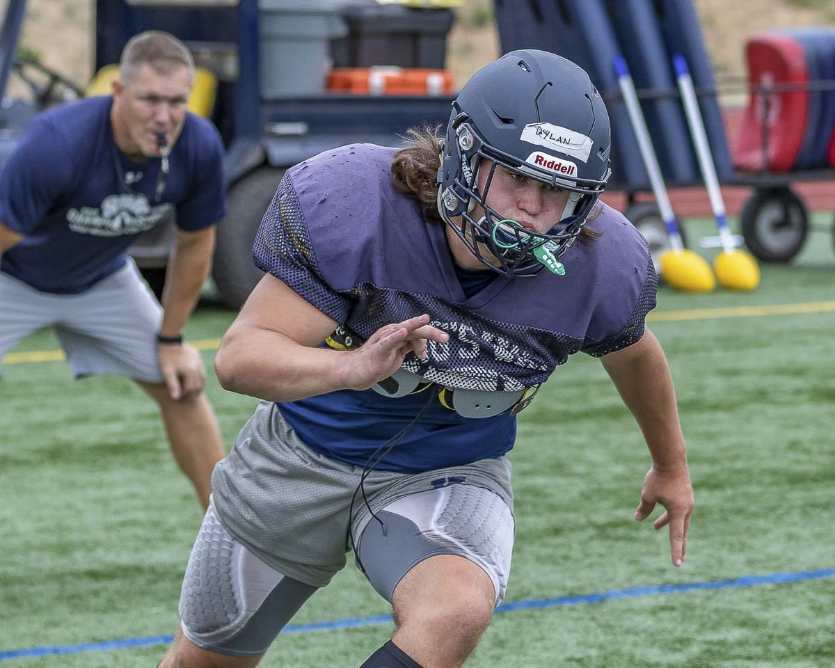 Dylan Scott is such a good athlete he can play multiple positions. The Knights likely will need him as a lineman and linebacker this season. Photo by Mike Schultz