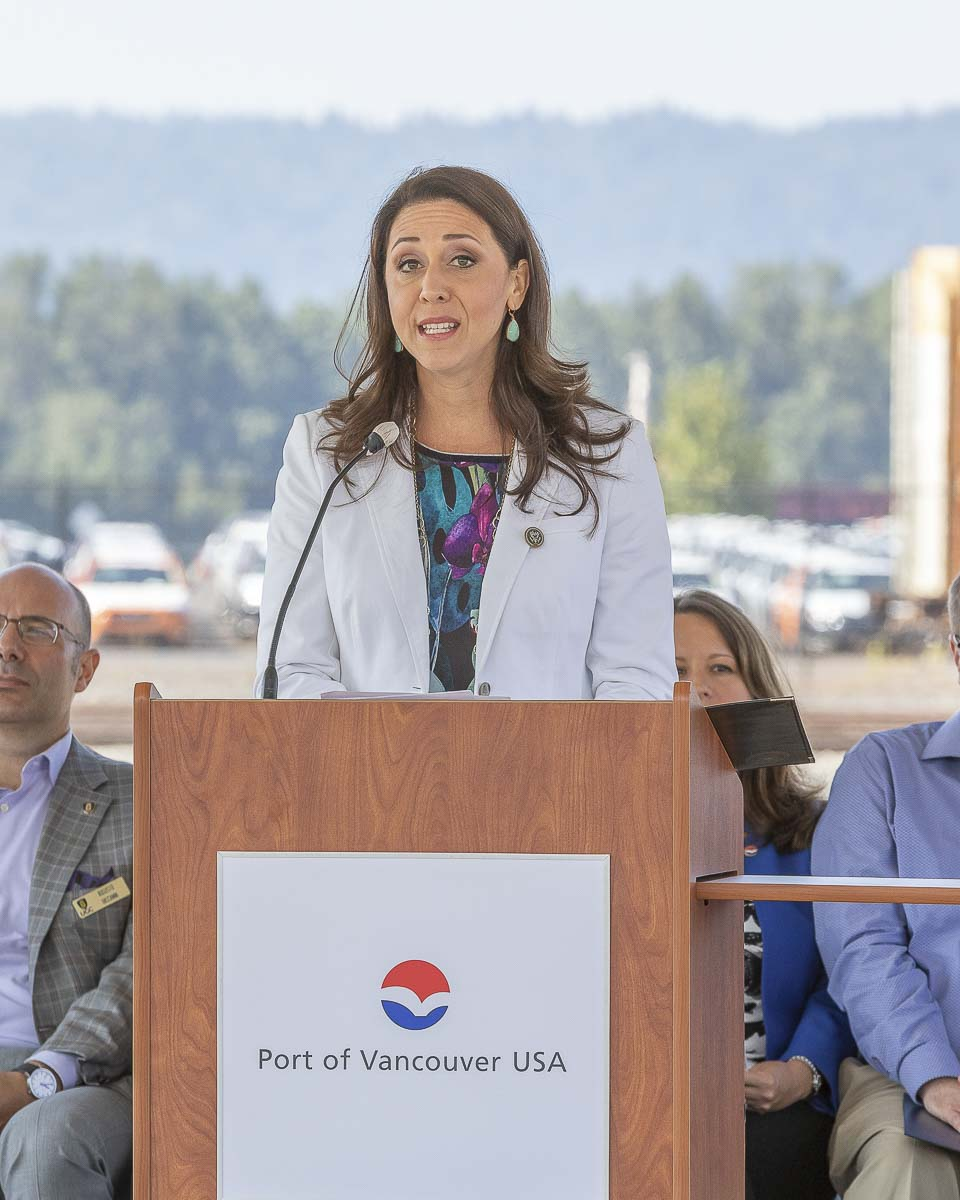 Congresswoman Jaime Herrera Beutler speaks Tuesday at a grand opening ceremony for the Port of Vancouver USA's West Vancouver Freight Access Project. Photo by Mike Schultz