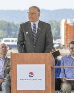 Governor Jay Inslee was in Vancouver last week for the grand opening of the Port of Vancouver Freight Access Project. Photo by Mike Schultz