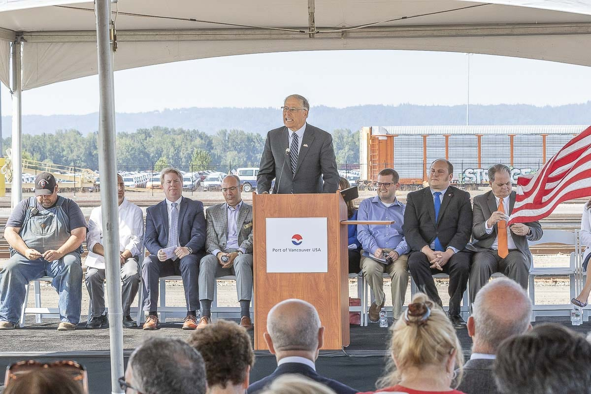 Washington Governor Jay Inslee speaks Tuesday at a grand opening ceremony for the Port of Vancouver USA's West Vancouver Freight Access Project. Photo by Mike Schultz