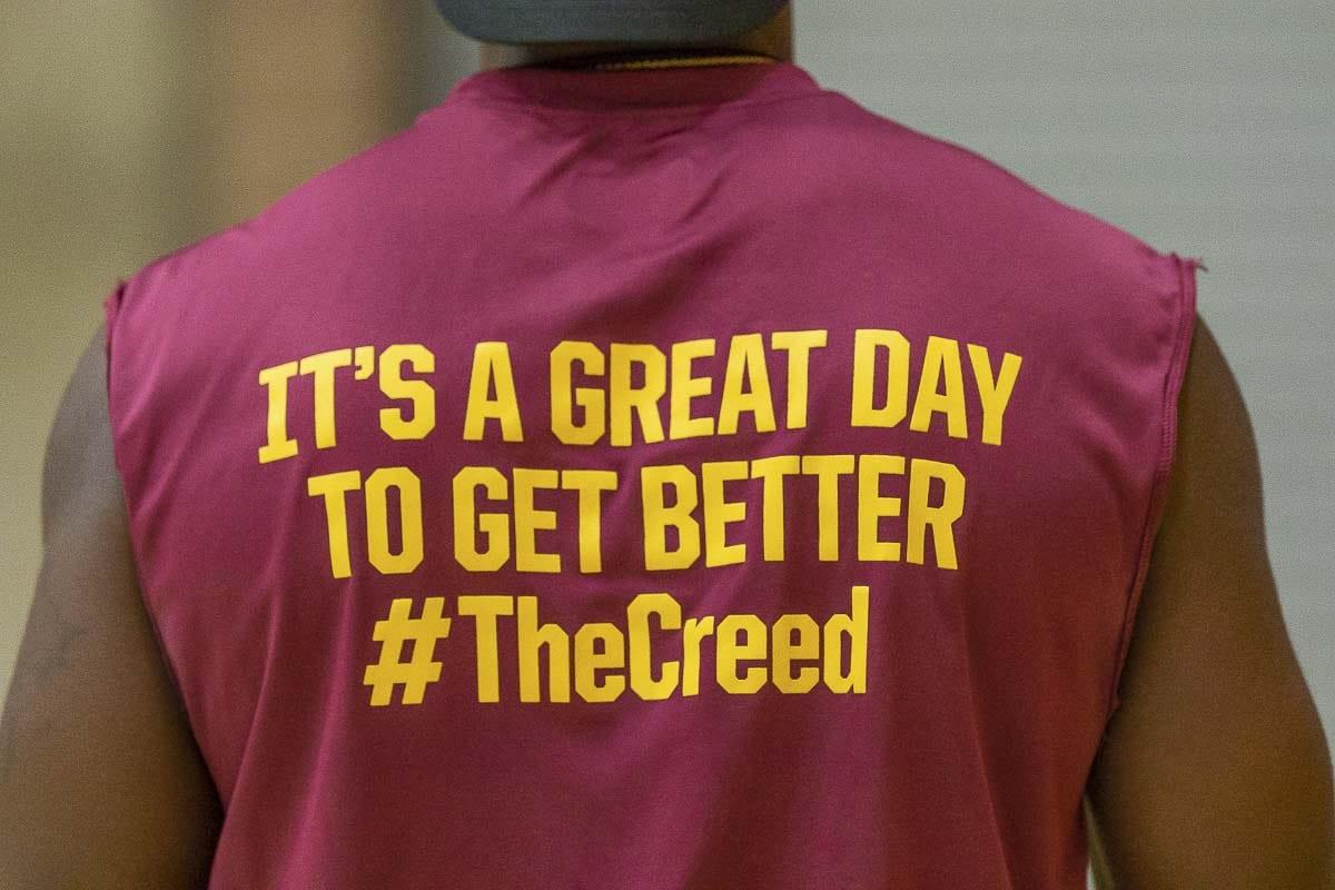 The Prairie Falcons football team has their own creed. Photo by Mike Schultz